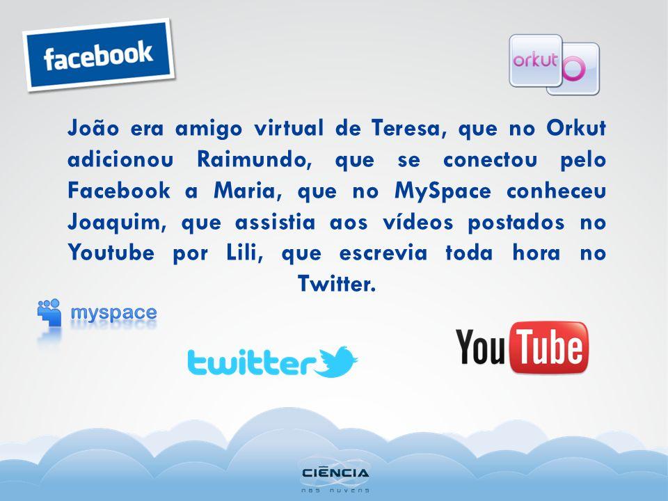 João era amigo virtual de Teresa, que no Orkut adicionou Raimundo, que se conectou pelo Facebook a Maria, que no MySpace conheceu Joaquim, que assisti