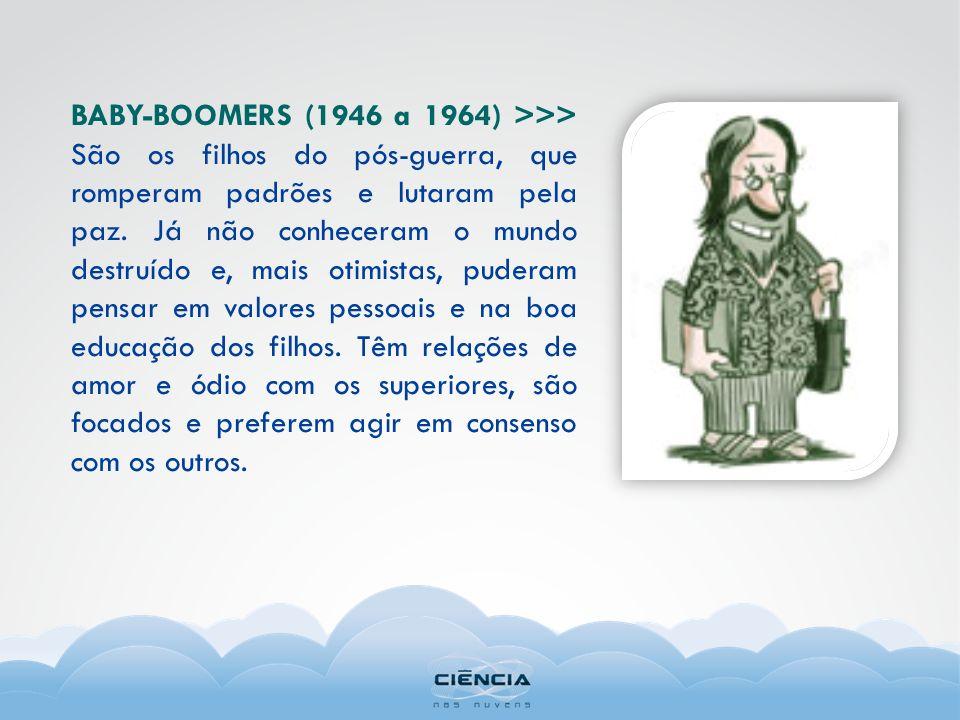 BABY-BOOMERS (1946 a 1964) >>> São os filhos do pós-guerra, que romperam padrões e lutaram pela paz. Já não conheceram o mundo destruído e, mais otimi