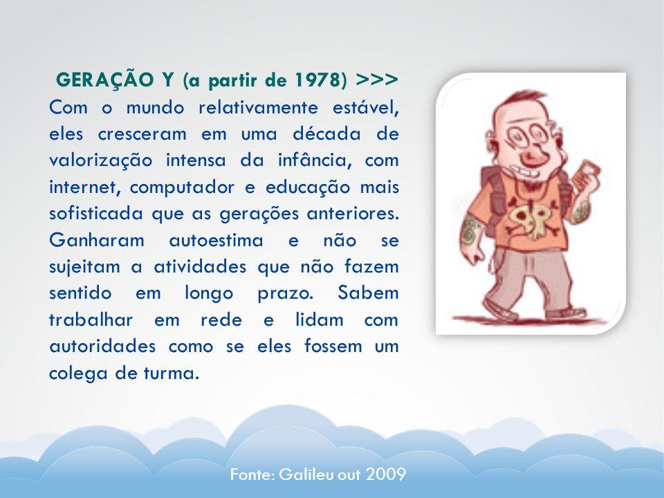 GERAÇÃO Y (a partir de 1978) >>> Com o mundo relativamente estável, eles cresceram em uma década de valorização intensa da infância, com internet, com