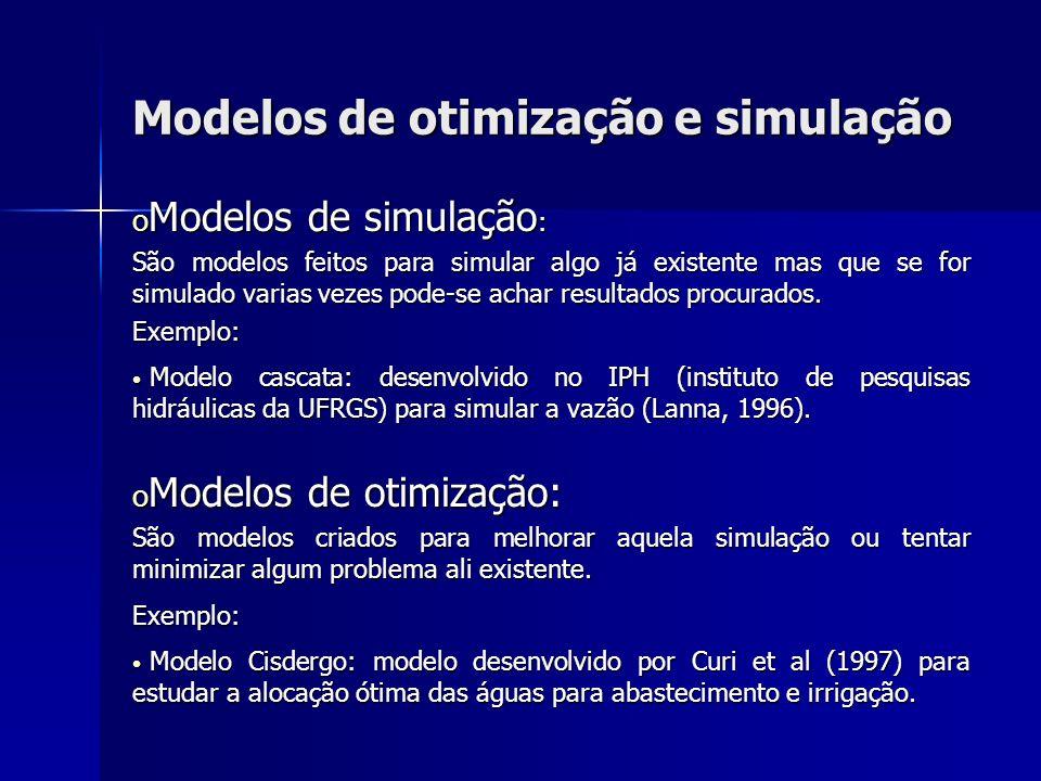 Modelos de otimização e simulação o Modelos de simulação : São modelos feitos para simular algo já existente mas que se for simulado varias vezes pode
