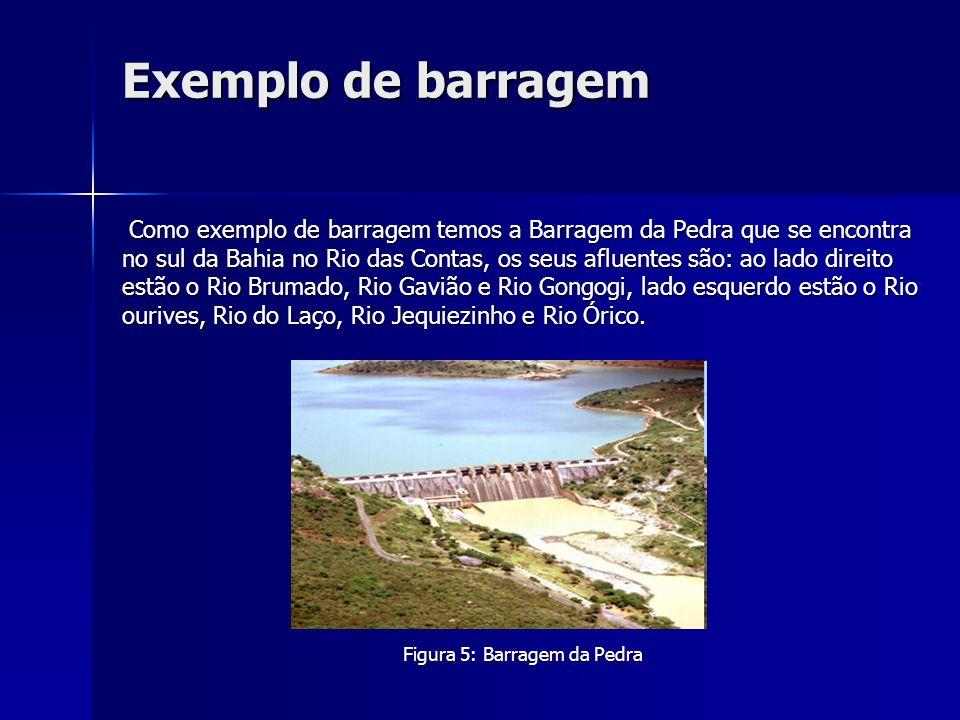 Exemplo de barragem Como exemplo de barragem temos a Barragem da Pedra que se encontra no sul da Bahia no Rio das Contas, os seus afluentes são: ao la