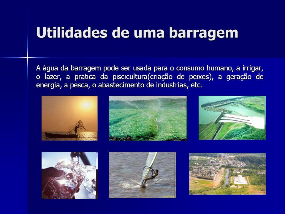 Utilidades de uma barragem A água da barragem pode ser usada para o consumo humano, a irrigar, o lazer, a pratica da piscicultura(criação de peixes),