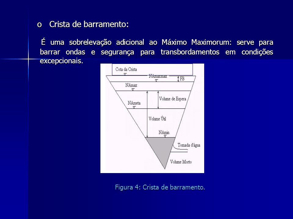 o Crista de barramento: É uma sobrelevação adicional ao Máximo Maximorum: serve para barrar ondas e segurança para transbordamentos em condições excep