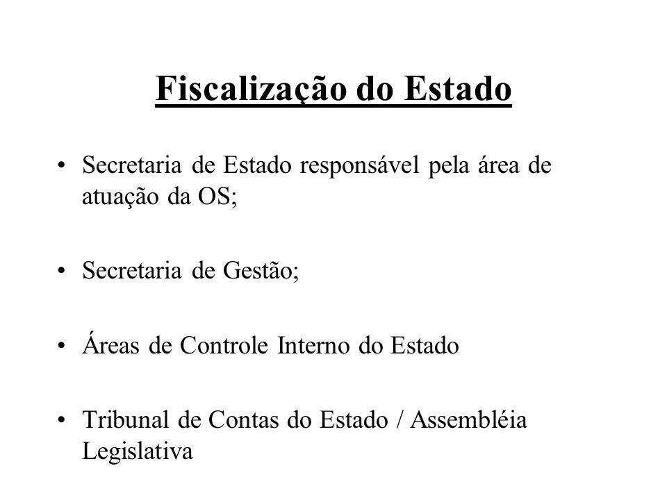 Fiscalização do Estado Secretaria de Estado responsável pela área de atuação da OS; Secretaria de Gestão; Áreas de Controle Interno do Estado Tribunal de Contas do Estado / Assembléia Legislativa
