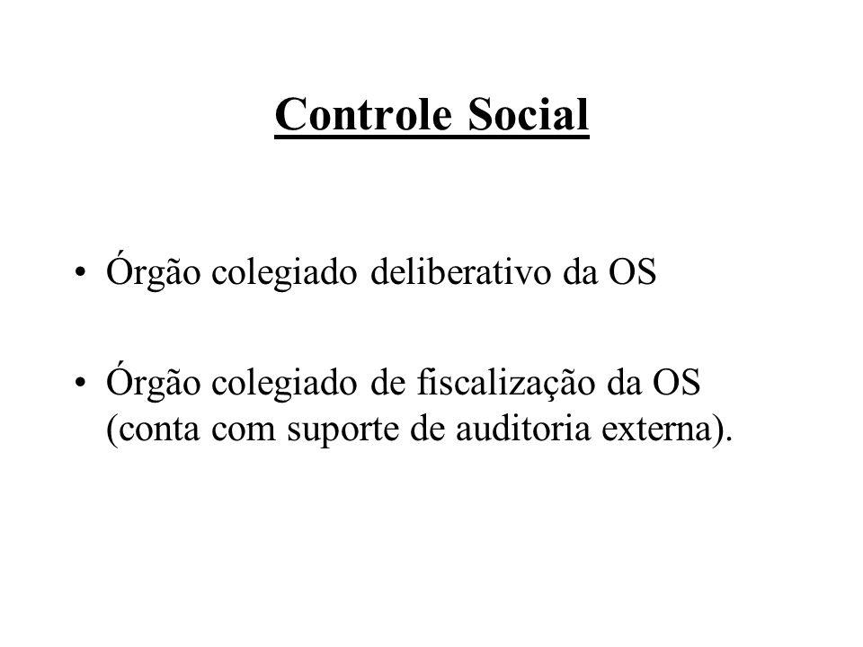Controle Social Órgão colegiado deliberativo da OS Órgão colegiado de fiscalização da OS (conta com suporte de auditoria externa).