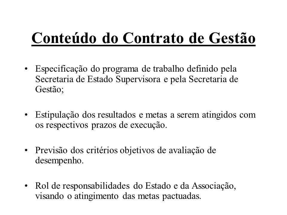 Conteúdo do Contrato de Gestão Especificação do programa de trabalho definido pela Secretaria de Estado Supervisora e pela Secretaria de Gestão; Estipulação dos resultados e metas a serem atingidos com os respectivos prazos de execução.