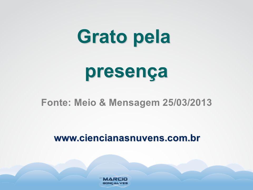 Fonte: Meio & Mensagem 25/03/2013 Grato pela presença www.ciencianasnuvens.com.br