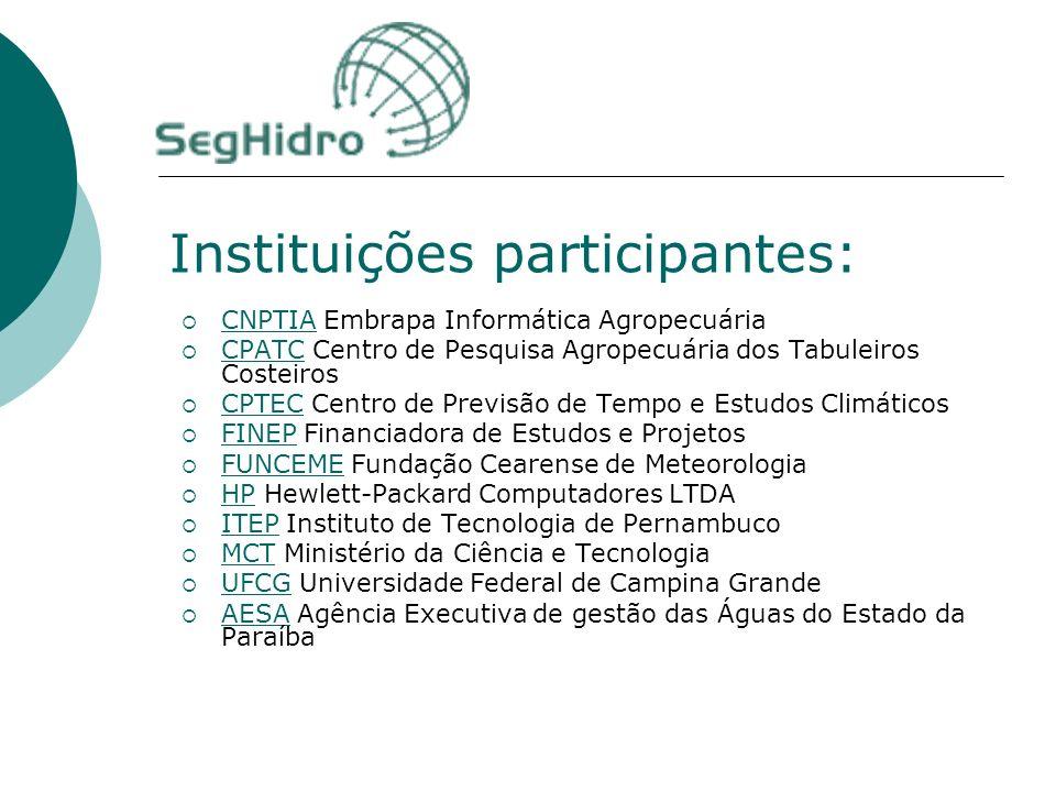 Instituições participantes: CNPTIA Embrapa Informática Agropecuária CNPTIA CPATC Centro de Pesquisa Agropecuária dos Tabuleiros Costeiros CPATC CPTEC