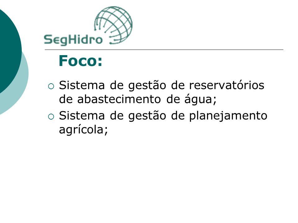 Foco: Sistema de gestão de reservatórios de abastecimento de água; Sistema de gestão de planejamento agrícola; Sistema de gestão de aquíferos aluviais em áreas rurais.