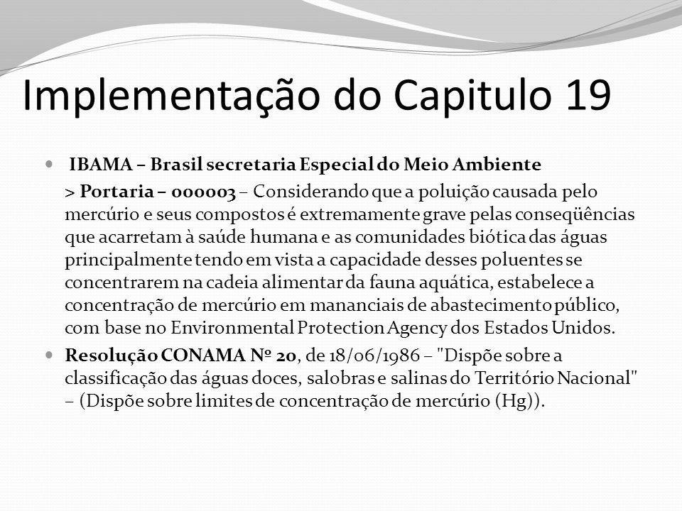Implementação do Capitulo 19 IBAMA – Brasil secretaria Especial do Meio Ambiente > Portaria – 000003 – Considerando que a poluição causada pelo mercúr
