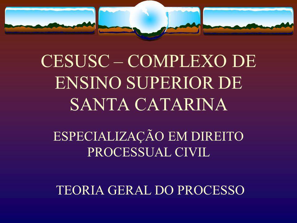 CESUSC – COMPLEXO DE ENSINO SUPERIOR DE SANTA CATARINA ESPECIALIZAÇÃO EM DIREITO PROCESSUAL CIVIL TEORIA GERAL DO PROCESSO