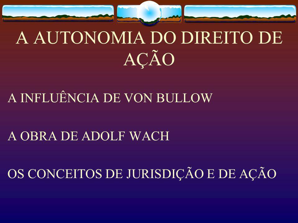 A AUTONOMIA DO DIREITO DE AÇÃO A INFLUÊNCIA DE VON BULLOW A OBRA DE ADOLF WACH OS CONCEITOS DE JURISDIÇÃO E DE AÇÃO