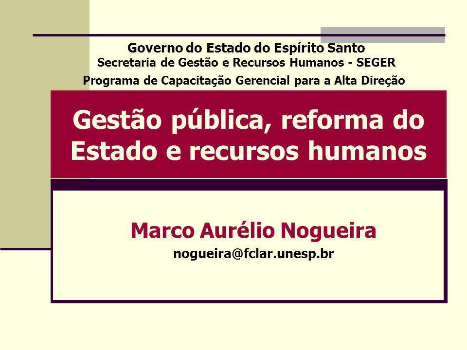 Gestão pública, reforma do Estado e recursos humanos Marco Aurélio Nogueira nogueira@fclar.unesp.br Governo do Estado do Espírito Santo Secretaria de