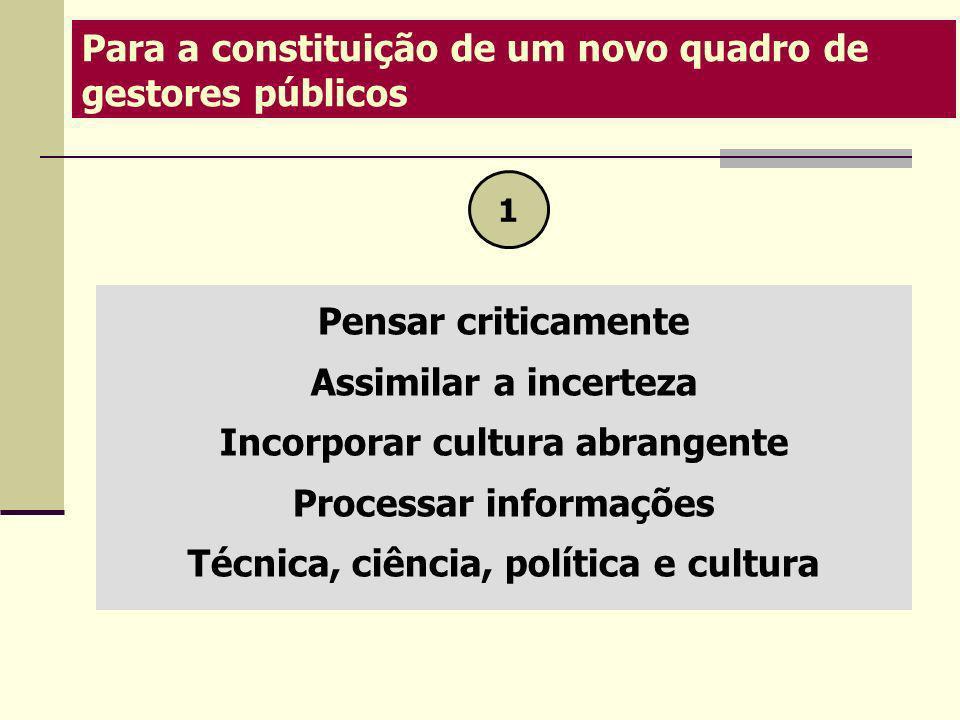 Pensar criticamente Assimilar a incerteza Incorporar cultura abrangente Processar informações Técnica, ciência, política e cultura Para a constituição