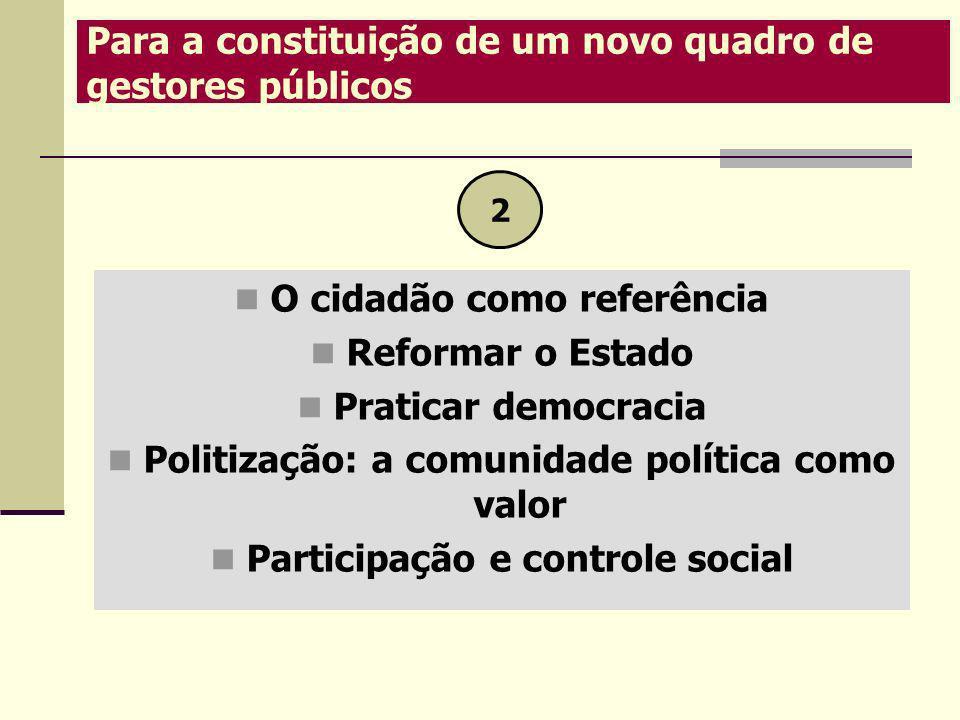 O cidadão como referência Reformar o Estado Praticar democracia Politização: a comunidade política como valor Participação e controle social 2 Para a