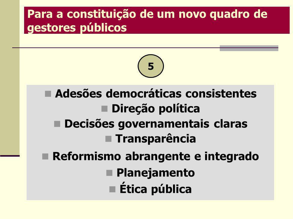 Adesões democráticas consistentes Direção política Decisões governamentais claras Transparência Reformismo abrangente e integrado Planejamento Ética p