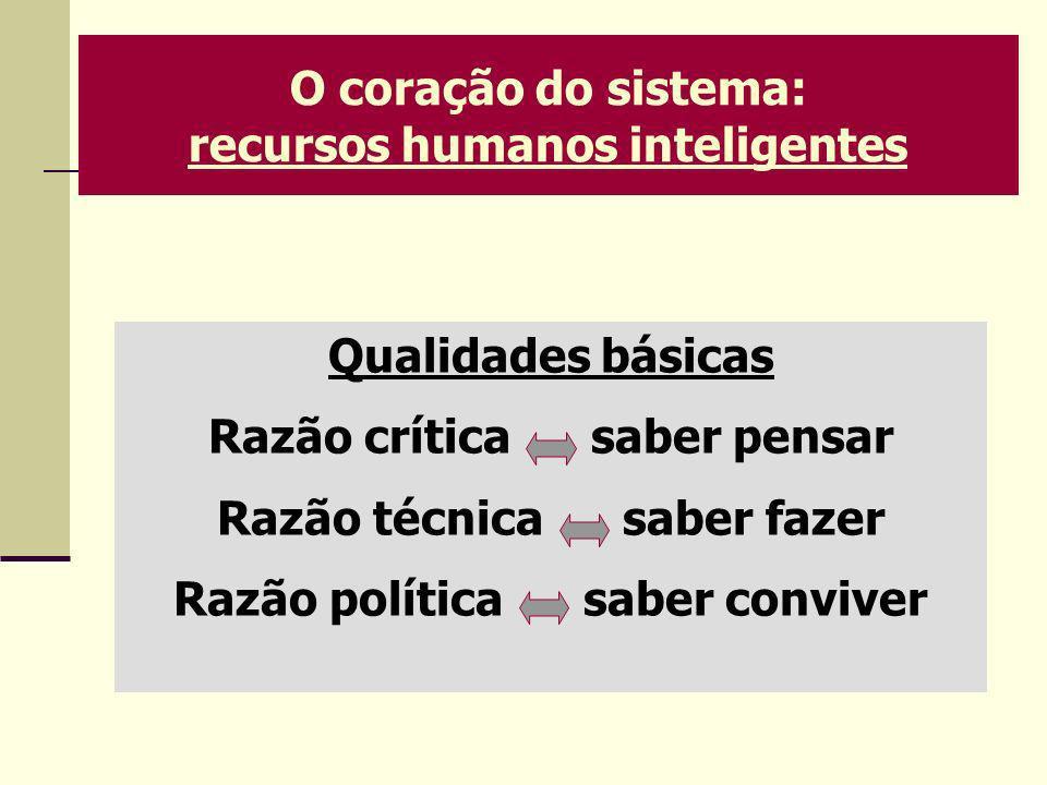 O coração do sistema: recursos humanos inteligentes Qualidades básicas Razão crítica saber pensar Razão técnica saber fazer Razão política saber convi