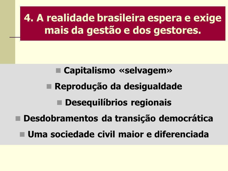 4. A realidade brasileira espera e exige mais da gestão e dos gestores. Capitalismo «selvagem» Reprodução da desigualdade Desequilíbrios regionais Des