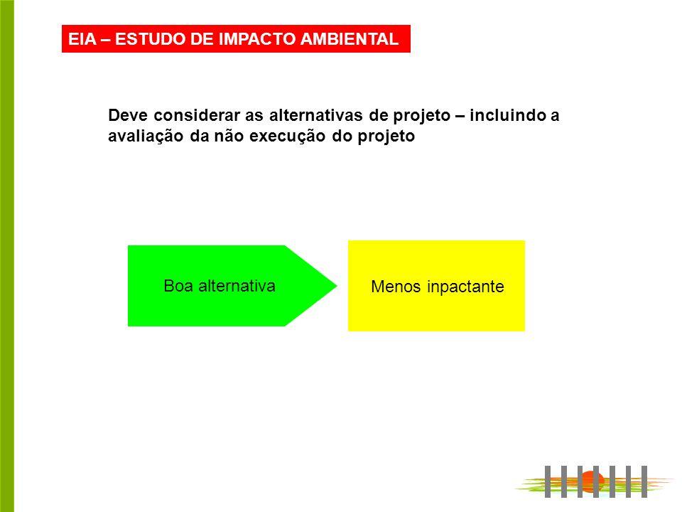 EIA – ESTUDO DE IMPACTO AMBIENTAL Deve considerar as alternativas de projeto – incluindo a avaliação da não execução do projeto Boa alternativa Menos inpactante