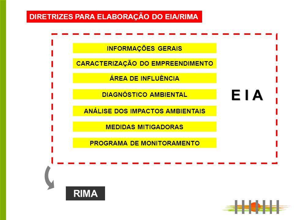DIRETRIZES PARA ELABORAÇÃO DO EIA/RIMA INFORMAÇÕES GERAIS ANÁLISE DOS IMPACTOS AMBIENTAIS CARACTERIZAÇÃO DO EMPREENDIMENTO DIAGNÓSTICO AMBIENTAL ÁREA DE INFLUÊNCIA MEDIDAS MITIGADORAS PROGRAMA DE MONITORAMENTO RIMA E I A