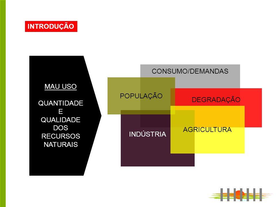 INTRODUÇÃO CONSUMO/DEMANDAS DEGRADAÇÃO INDÚSTRIA POPULAÇÃO AGRICULTURA MAU USO QUANTIDADE E QUALIDADE DOS RECURSOS NATURAIS