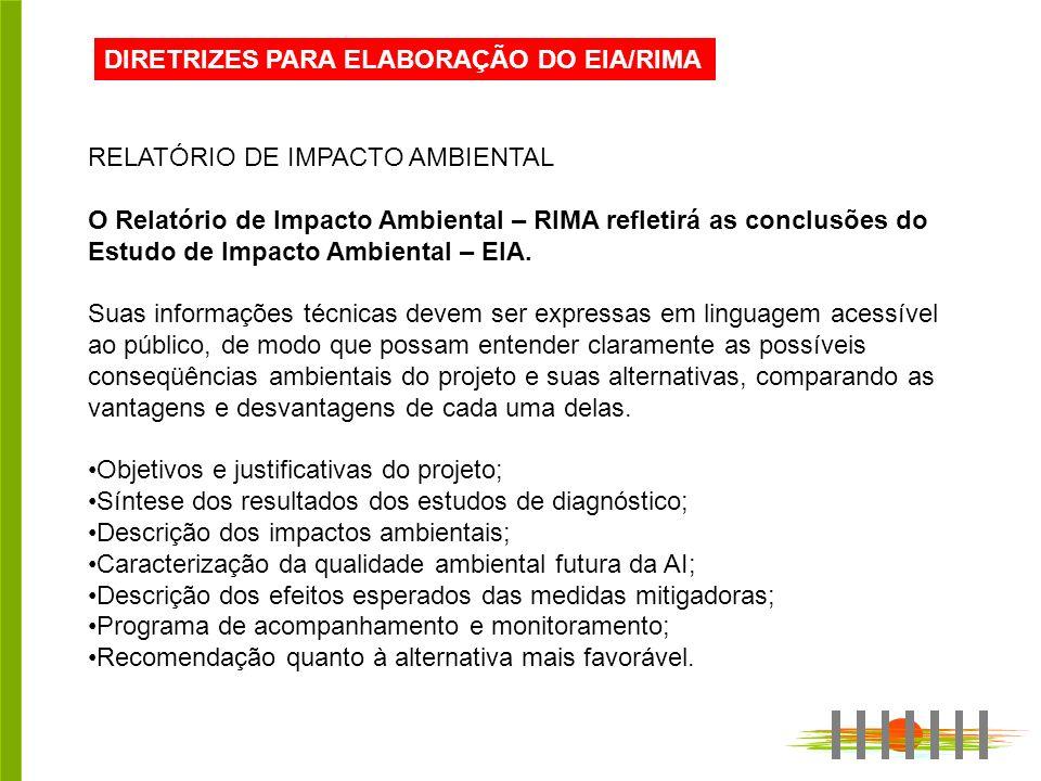 DIRETRIZES PARA ELABORAÇÃO DO EIA/RIMA RELATÓRIO DE IMPACTO AMBIENTAL O Relatório de Impacto Ambiental – RIMA refletirá as conclusões do Estudo de Impacto Ambiental – EIA.