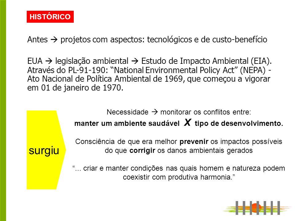 HISTÓRICO Antes projetos com aspectos: tecnológicos e de custo-benefício EUA legislação ambiental Estudo de Impacto Ambiental (EIA).