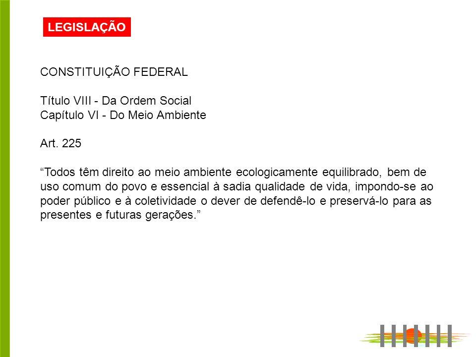 LEGISLAÇÃO CONSTITUIÇÃO FEDERAL Título VIII - Da Ordem Social Capítulo VI - Do Meio Ambiente Art.
