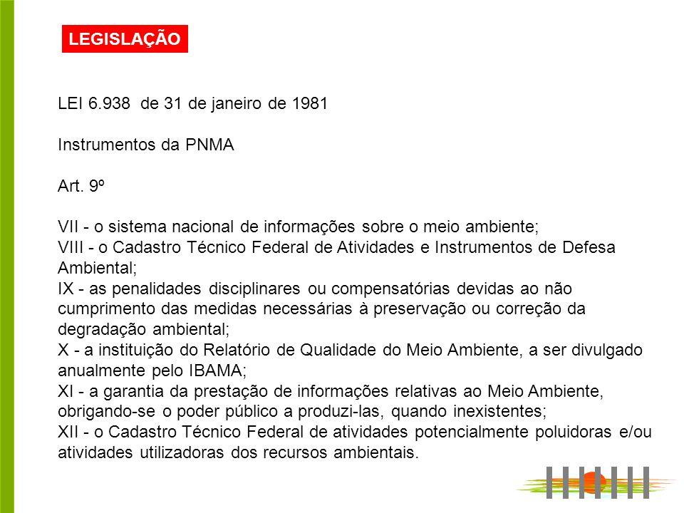 LEGISLAÇÃO LEI 6.938 de 31 de janeiro de 1981 Instrumentos da PNMA Art.