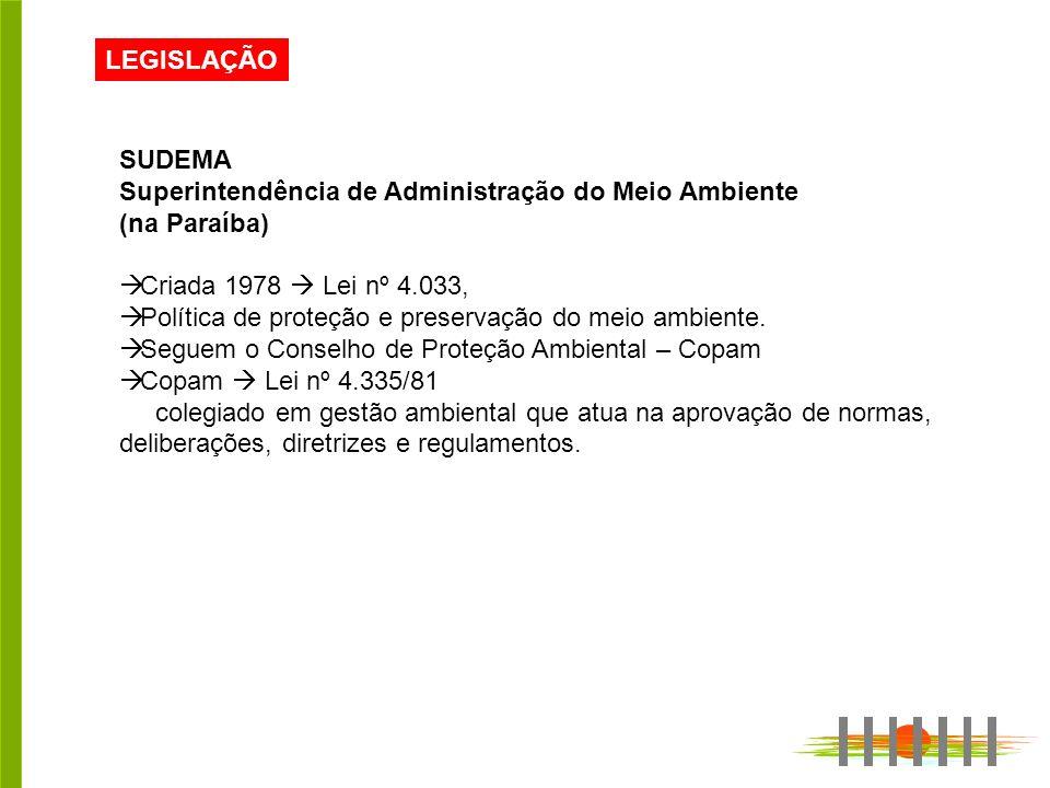 LEGISLAÇÃO SUDEMA Superintendência de Administração do Meio Ambiente (na Paraíba) Criada 1978 Lei nº 4.033, Política de proteção e preservação do meio ambiente.