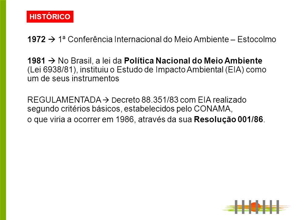 HISTÓRICO 1972 1ª Conferência Internacional do Meio Ambiente – Estocolmo 1981 No Brasil, a lei da Política Nacional do Meio Ambiente (Lei 6938/81), instituiu o Estudo de Impacto Ambiental (EIA) como um de seus instrumentos REGULAMENTADA D ecreto 88.351/83 com EIA realizado segundo critérios básicos, estabelecidos pelo CONAMA, o que viria a ocorrer em 1986, através da sua Resolução 001/86.