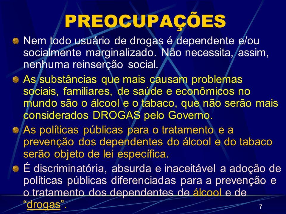7 PREOCUPAÇÕES Nem todo usuário de drogas é dependente e/ou socialmente marginalizado.