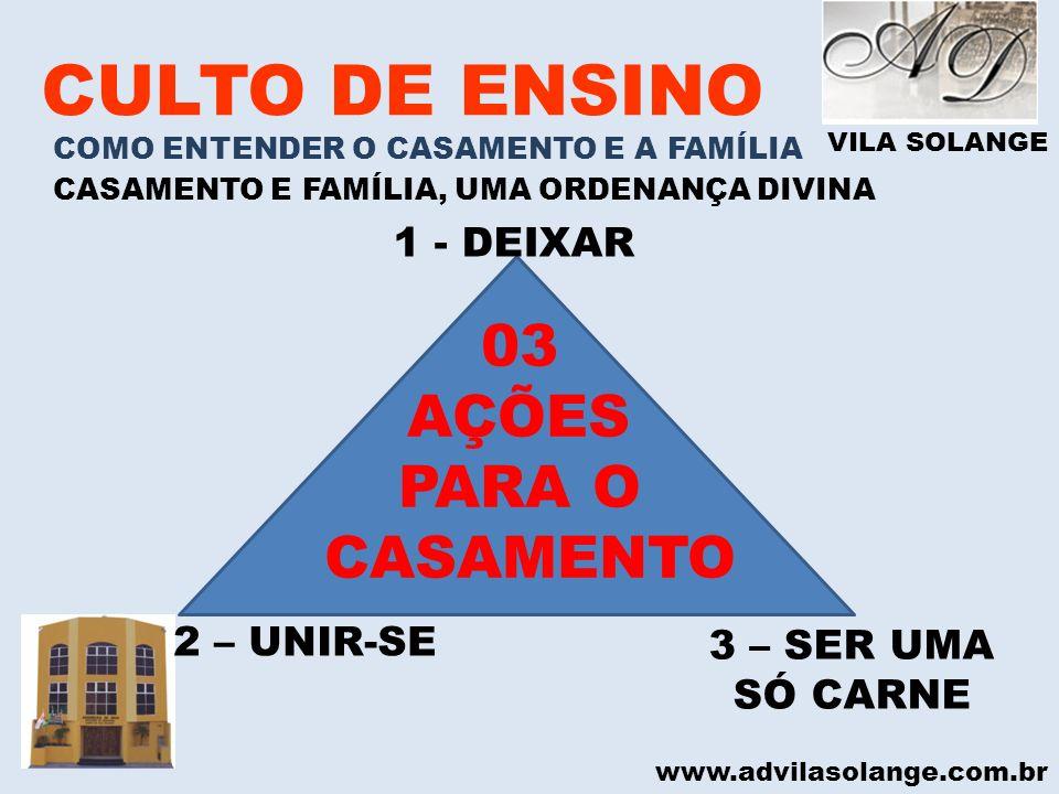 VILA SOLANGE www.advilasolange.com.br CULTO DE ENSINO COMO ENTENDER O CASAMENTO E A FAMÍLIA CASAMENTO E FAMÍLIA, UMA ORDENANÇA DIVINA 1 - DEIXAR 3 – S