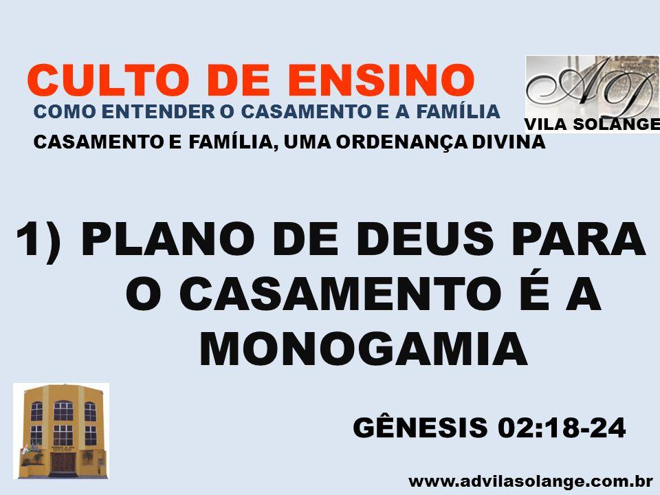 VILA SOLANGE www.advilasolange.com.br CULTO DE ENSINO COMO ENTENDER O CASAMENTO E A FAMÍLIA CASAMENTO E FAMÍLIA, UMA ORDENANÇA DIVINA 1)PLANO DE DEUS