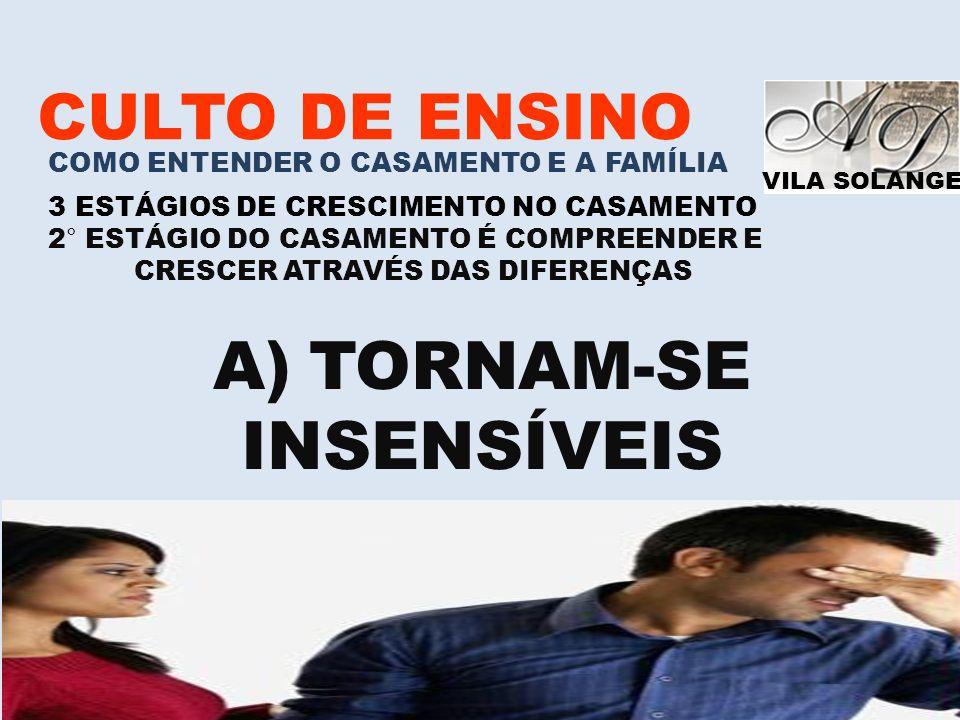 VILA SOLANGE www.advilasolange.com.br CULTO DE ENSINO COMO ENTENDER O CASAMENTO E A FAMÍLIA 3 ESTÁGIOS DE CRESCIMENTO NO CASAMENTO 2° ESTÁGIO DO CASAM