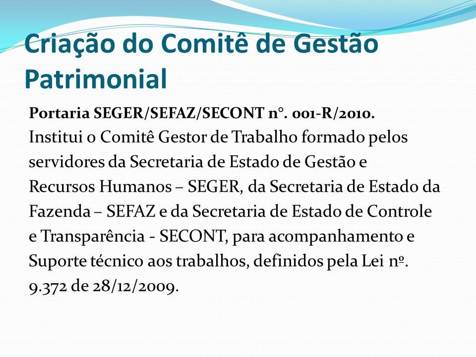 Criação do Comitê de Gestão Patrimonial Portaria SEGER/SEFAZ/SECONT n°.