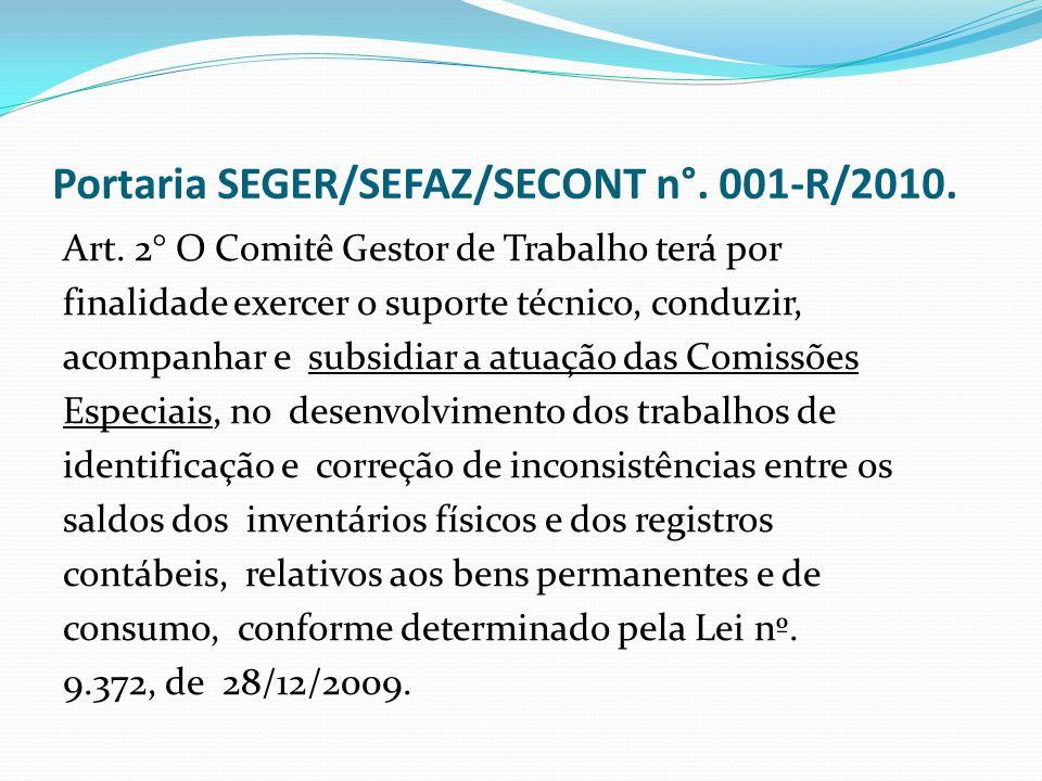 Portaria SEGER/SEFAZ/SECONT n°.001-R/2010. Art.