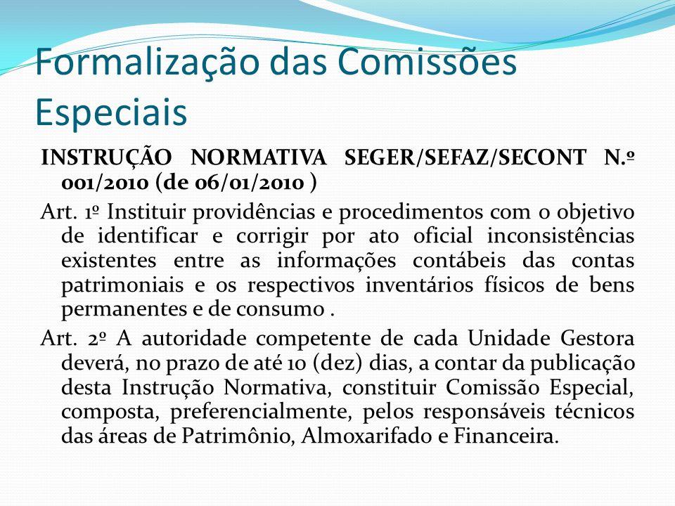 Formalização das Comissões Especiais INSTRUÇÃO NORMATIVA SEGER/SEFAZ/SECONT N.º 001/2010 (de 06/01/2010 ) Art.