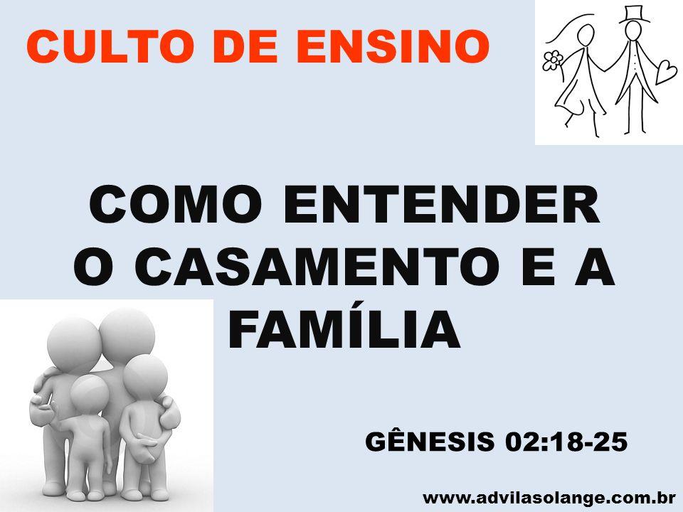 VILA SOLANGE www.advilasolange.com.br CULTO DE ENSINO COMO ENTENDER O CASAMENTO E A FAMÍLIA 7 PROPÓSITOS DE DEUS PARA O CASAMENTO E A FAMÍLIA GÊNESIS 02:20-25 GÊNESIS 01:31 ECLESIASTE 04:09-12