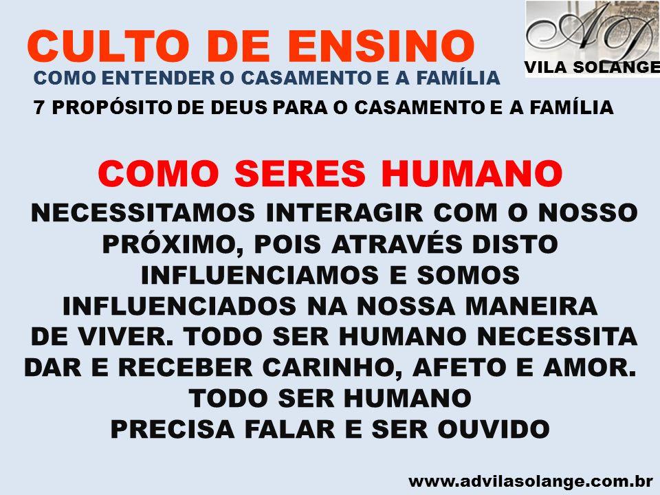 VILA SOLANGE www.advilasolange.com.br CULTO DE ENSINO COMO ENTENDER O CASAMENTO E A FAMÍLIA 7 PROPÓSITO DE DEUS PARA O CASAMENTO E A FAMÍLIA 2) O PROPÓSITO DO CASAMENTO E DA FAMÍLIA É O AUXÍLIO DE TODOS GÊNESIS 02:18 2012 ANO DA FAMÍLIA