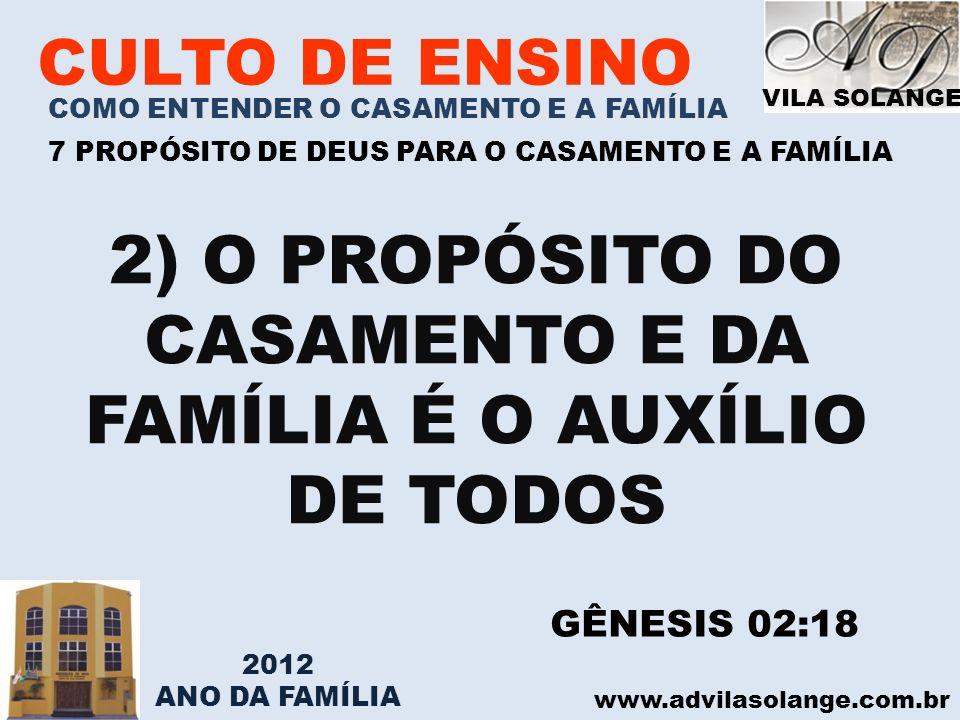 VILA SOLANGE www.advilasolange.com.br CULTO DE ENSINO COMO ENTENDER O CASAMENTO E A FAMÍLIA 7 PROPÓSITO DE DEUS PARA O CASAMENTO E A FAMÍLIA 3) O PROPÓSITO DO CASAMENTO É GERAR FILHOS GÊNESIS 01:28 GÊNESIS 03:16 2012 ANO DA FAMÍLIA