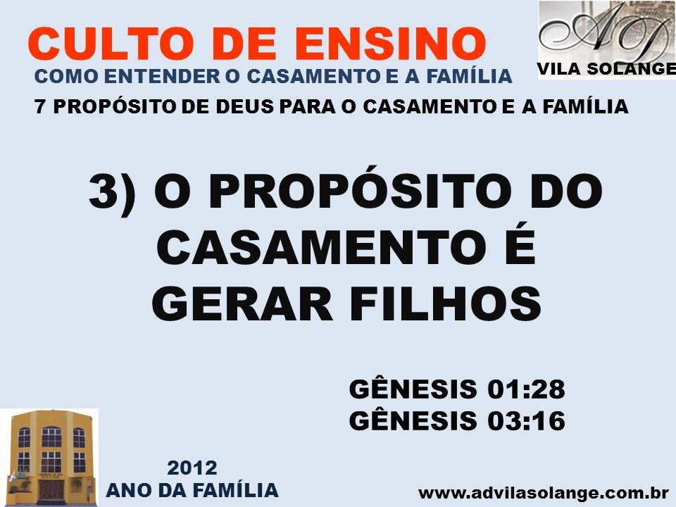 VILA SOLANGE www.advilasolange.com.br CULTO DE ENSINO COMO ENTENDER O CASAMENTO E A FAMÍLIA 7 PROPÓSITO DE DEUS PARA O CASAMENTO E A FAMÍLIA 3) O PROP