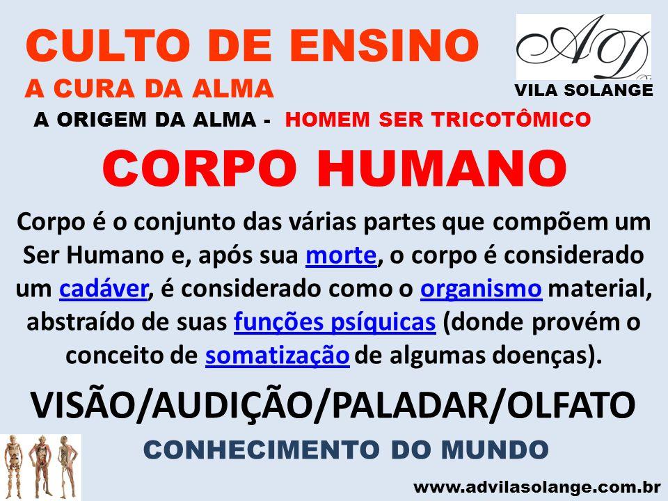 www.advilasolange.com.br CULTO DE ENSINO A CURA DA ALMA VILA SOLANGE A ORIGEM DA ALMA - HOMEM SER TRICOTÔMICO CORPO HUMANO Corpo é o conjunto das vári