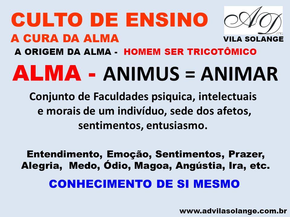 www.advilasolange.com.br CULTO DE ENSINO A CURA DA ALMA VILA SOLANGE A ORIGEM DA ALMA - HOMEM SER TRICOTÔMICO ALMA - ANIMUS = ANIMAR Conjunto de Facul