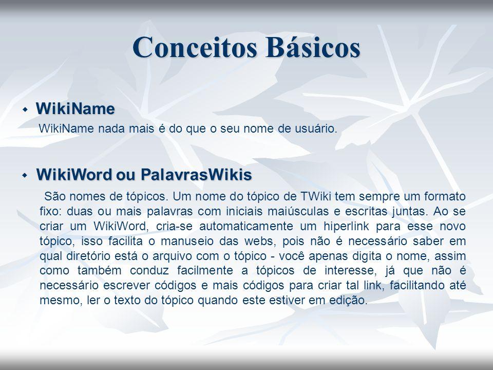 WikiName WikiName WikiName nada mais é do que o seu nome de usuário. WikiWord ou PalavrasWikis WikiWord ou PalavrasWikis São nomes de tópicos. Um nome