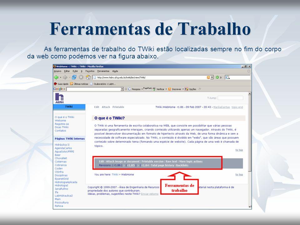 As ferramentas de trabalho do TWiki estão localizadas sempre no fim do corpo da web como podemos ver na figura abaixo. Ferramentas de Trabalho