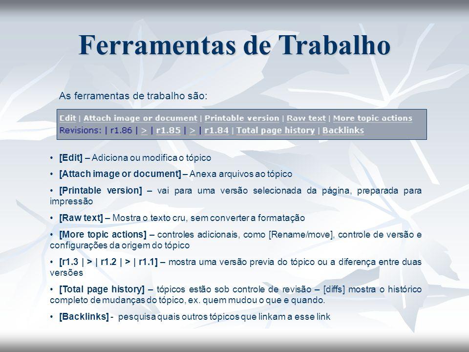 As ferramentas de trabalho são: [Edit] – Adiciona ou modifica o tópico [Attach image or document] – Anexa arquivos ao tópico [Printable version] – vai