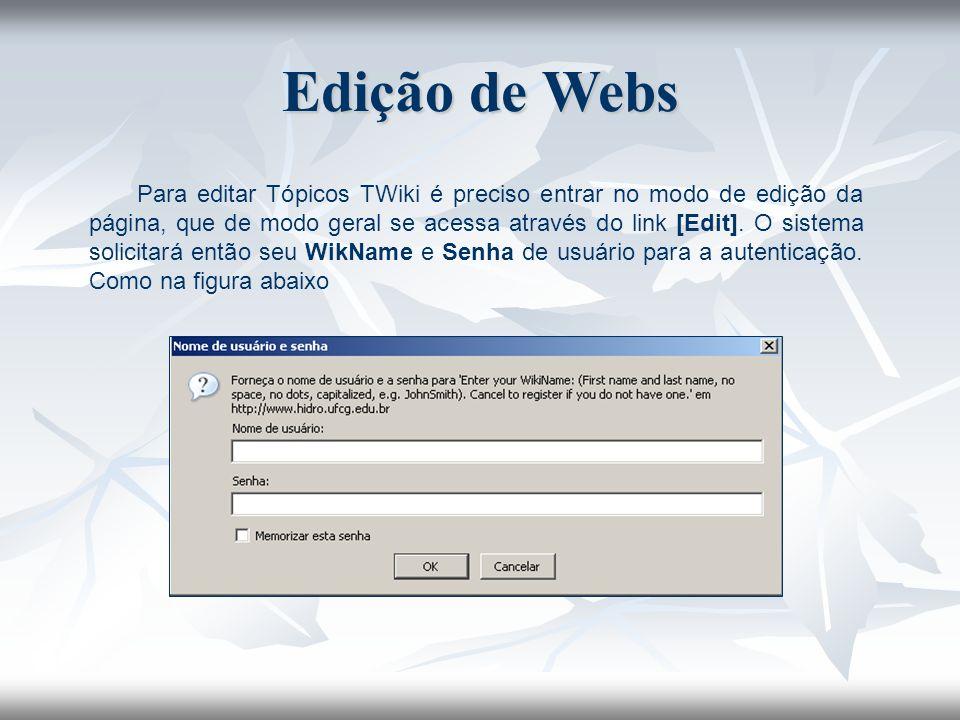 Para editar Tópicos TWiki é preciso entrar no modo de edição da página, que de modo geral se acessa através do link [Edit]. O sistema solicitará então