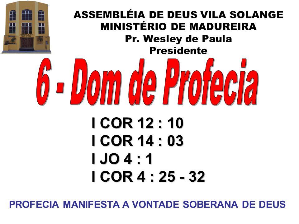 ASSEMBLÉIA DE DEUS VILA SOLANGE MINISTÉRIO DE MADUREIRA Pr. Wesley de Paula Presidente I COR 12 : 10 I COR 14 : 03 I JO 4 : 1 I COR 4 : 25 - 32 PROFEC
