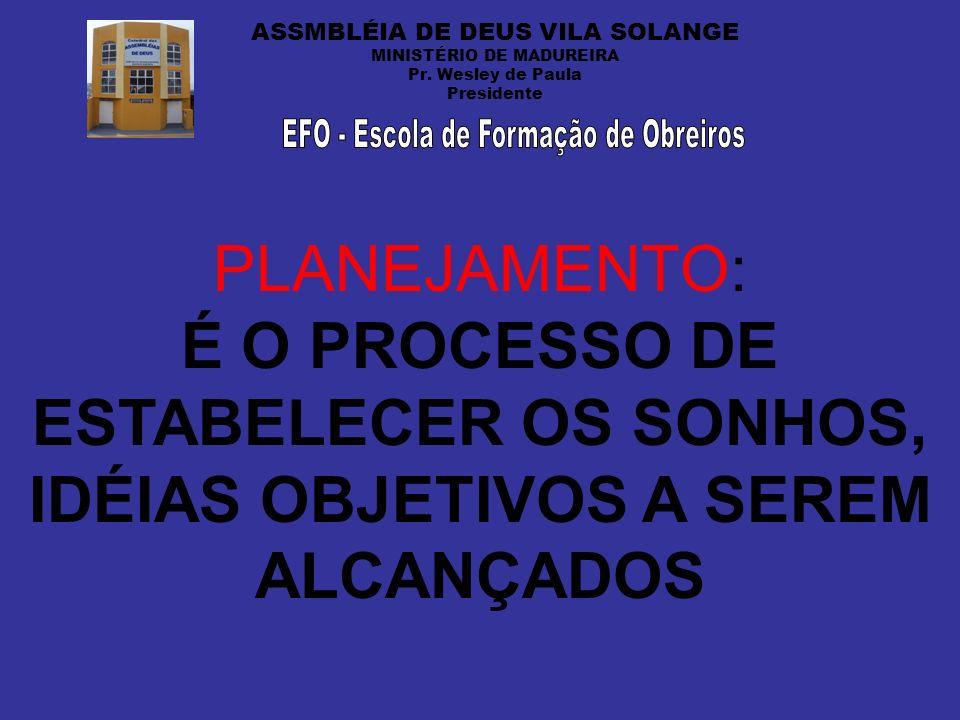 ASSMBLÉIA DE DEUS VILA SOLANGE MINISTÉRIO DE MADUREIRA Pr. Wesley de Paula Presidente PLANEJAMENTO: É O PROCESSO DE ESTABELECER OS SONHOS, IDÉIAS OBJE